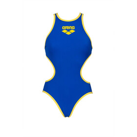 arena One Biglogo One Piece Swimsuit Dames, neon blue/yellow star